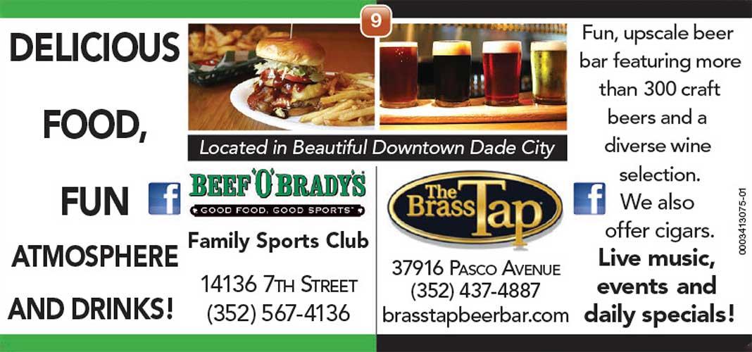 Beef O'Brady's & The Brass Tap ad